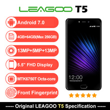 Оригинальный LEAGOO T5, смартфон, четыре ядра, 4 Гб Оперативная память 64 Гб Встроенная память MTK6750T Android 7,0 13MP 5,5