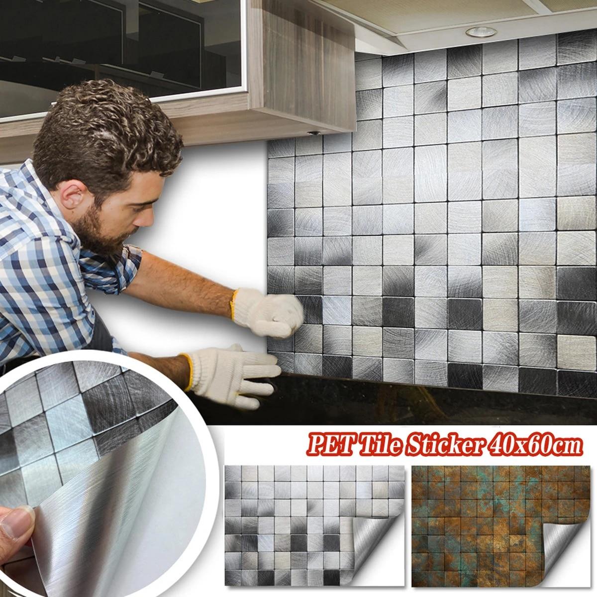 40x60cm self adhesive wallpaper removable ceiling tile kitchen oilproof decals waterproof backsplash peel stick tile
