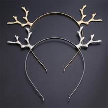 2019 Fashion Iron Hair Accessories Girls Lovely Elk Horn Decoration Hair Hoop Headpiece Prom Deer Ears Headbands Christmas Gift(China)