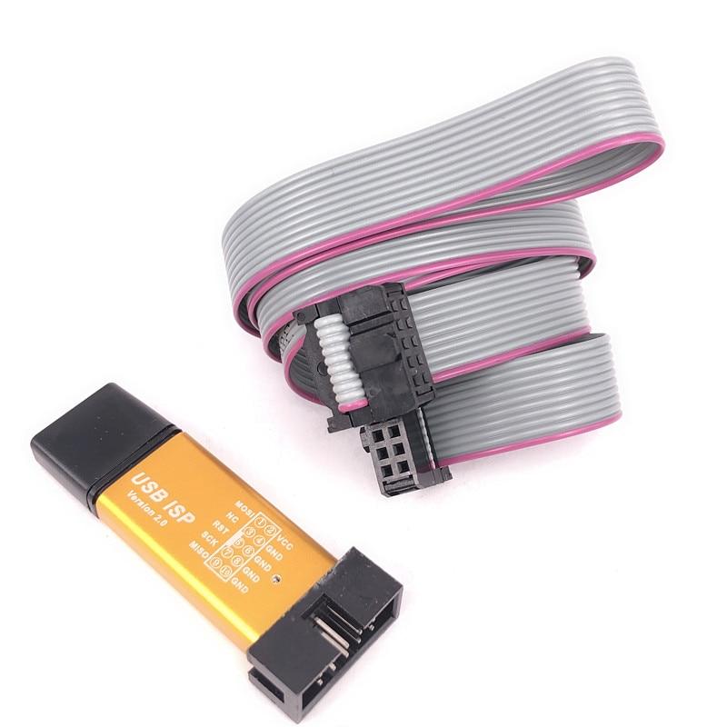 Aluminum shell USB ISP USBISP USBASP ASP Programmer for 51 ATMEL AVR WIN7 64 (Random color)