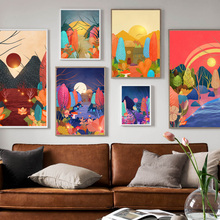 Hand Painted Forest plant Leaf Landscape Nordic Posters And Prints Wall Art Canvas Painting Pictures For Living Room Decor