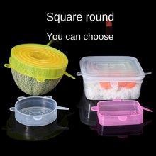 Couvercles réutilisables en Silicone pour aliments, 6 pièces, extensibles, élastiques, réglables, pour bol, micro-onde, pour la cuisine, pour conserver la fraîcheur