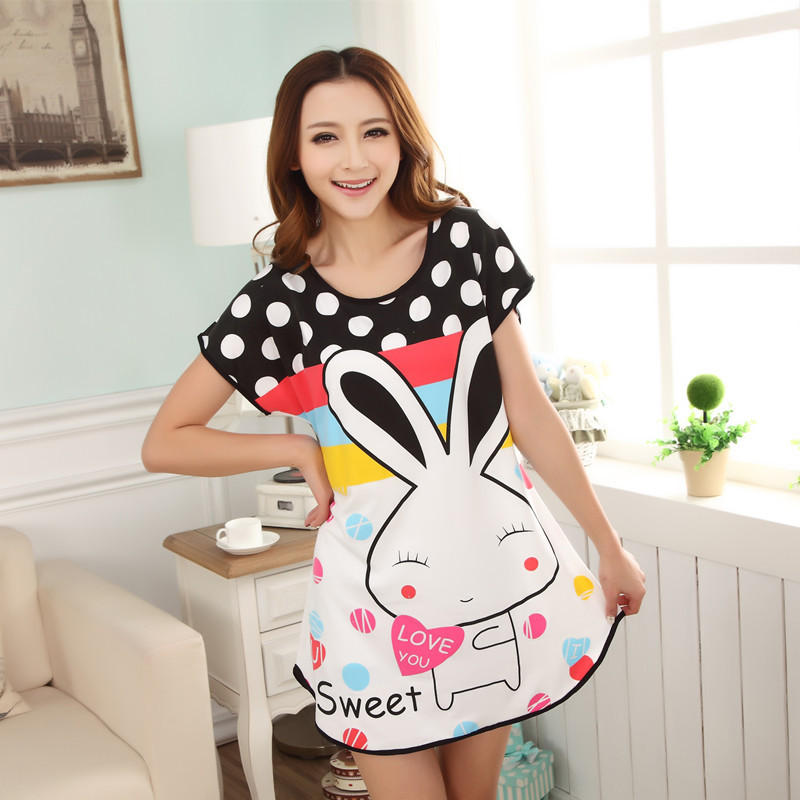 New 2018 Cartoon Women   Nightgown   Plus Size Lounge Animals Women's Sleepwear Summer Cool Short Sleeve Dress Loose   Sleepshirt