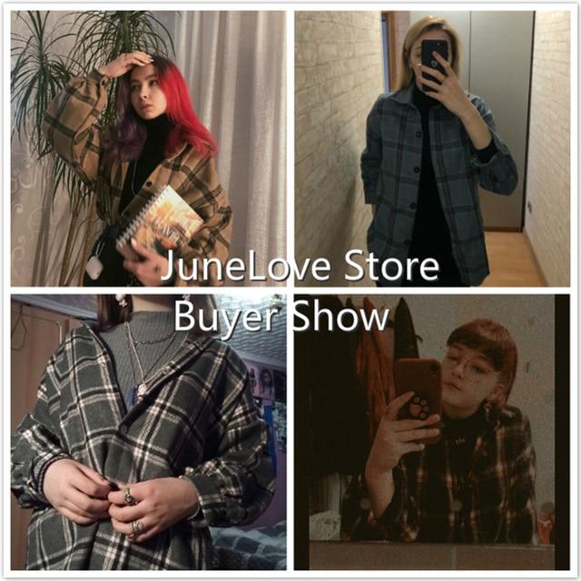 JuneLove Female Spring Street Blouse Shirts Vintage Oversized Plaid Flannel Boyfriend Tunic Shirt for Women Casual Korean Tops 4
