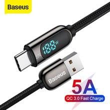 Baseus 5A USB-C Cable para Xiaomi rojo mi nota 9 rápido cargador con Cable de voltaje Digital pantalla LED USB tipo C Cable para Samsung