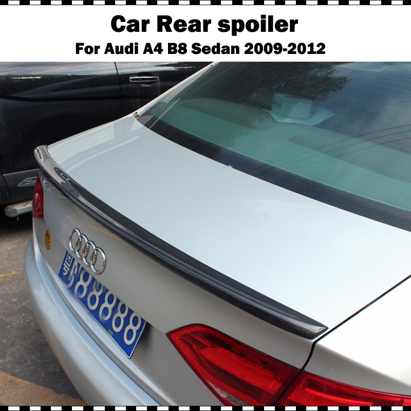 S4 Style For Audi A4 B8 Sedan Carbon Fiber Rear Spoiler Trunk Lip Wing 2009-2012