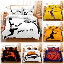 Jogo de cama de basquete 3d capa edredão & fronha estilo popular 2/ 3 peças terno. (sem estofamento e sem folha