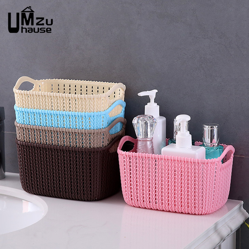 Plastic Wicker Rattan Baskets Cosmetic Makeup Office Storage Organizer For Bathroom Home Organization Portable Bucket Drain Case