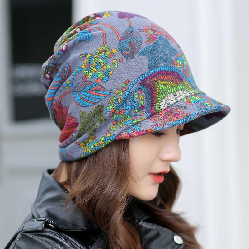 LongKeeper נשים פרחוני Visor בימס נקבה סתיו חורף קוקו בציר חם אופנה כובע כובעי משלוח חינם לברזיל