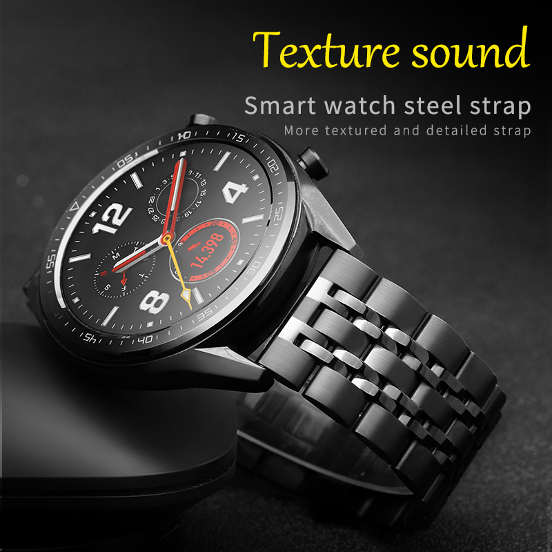 20/22mm Stainless Steel Band For Huawei Watch GT 2 /HONOR Magic Watch 2 Replacement Strap For Samsung Galaxy 46/42mm/ Gear S2/S3