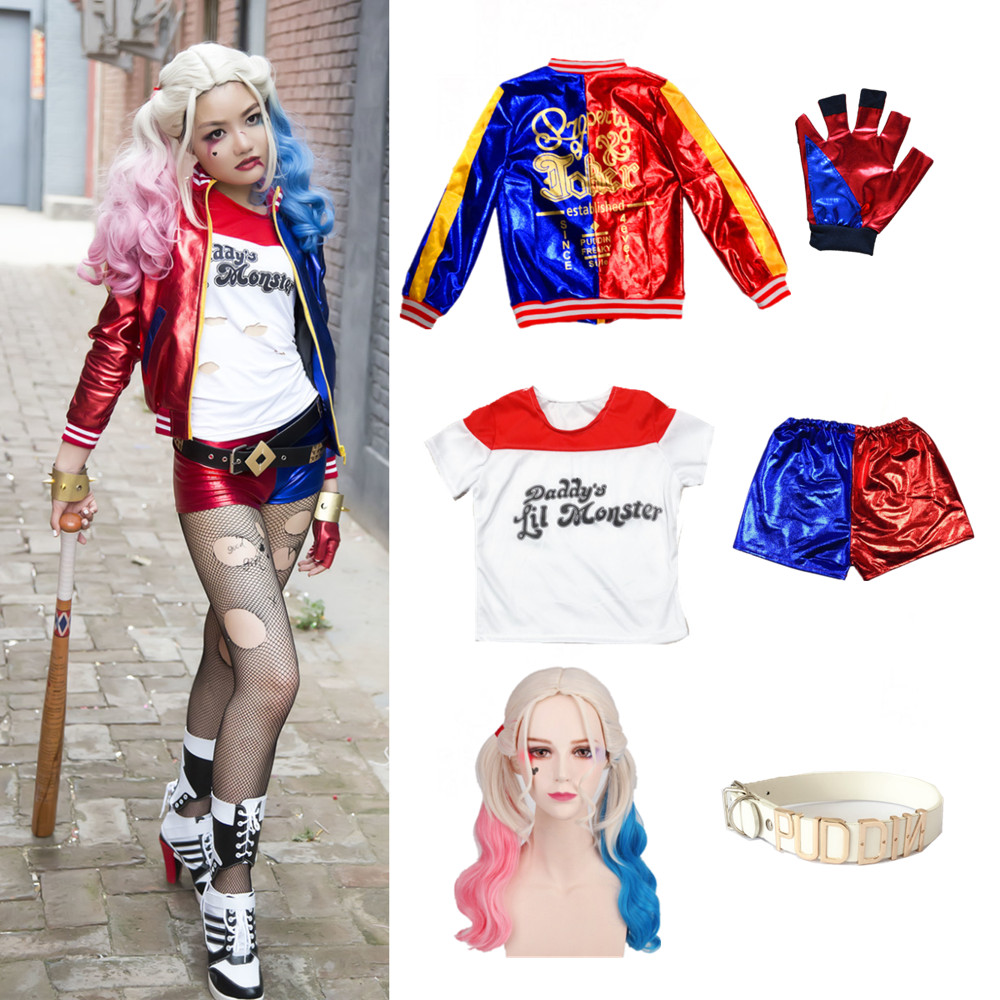24hrs Ship Carnival Harley Quinn Costume Cosplay Suicide Squad T Shirt Jacket Shorts Kids Girls Children Party Dress