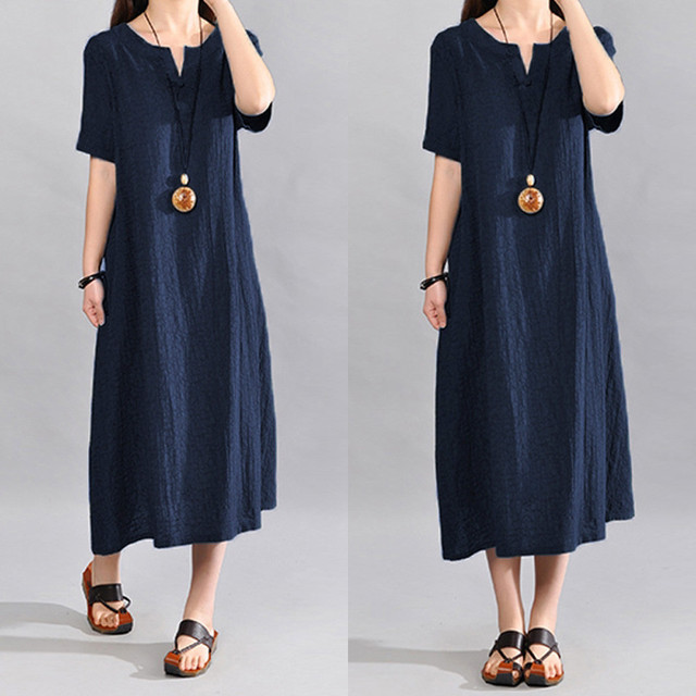 Women Cotton Linen Summer Dress Plus Size Bohemia Casual Solid o-neck Sexy Dress Woemn Short Sleeve Female Loose Dress Sukienki