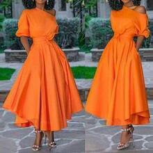 Kobiety ubierają gołe ramię pas biodrowy długa linia plisowana pomarańczowa moda codzienna kobiece damskie eleganckie nowe jesienne letnie szaty