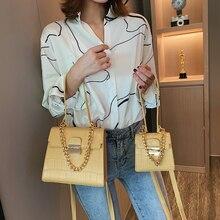 Fashion Stone Pattern Women Handbags Retro Solid Color Pu  Crossbody Bag Chains Handbag Flap Ladies Shoulder Messenger