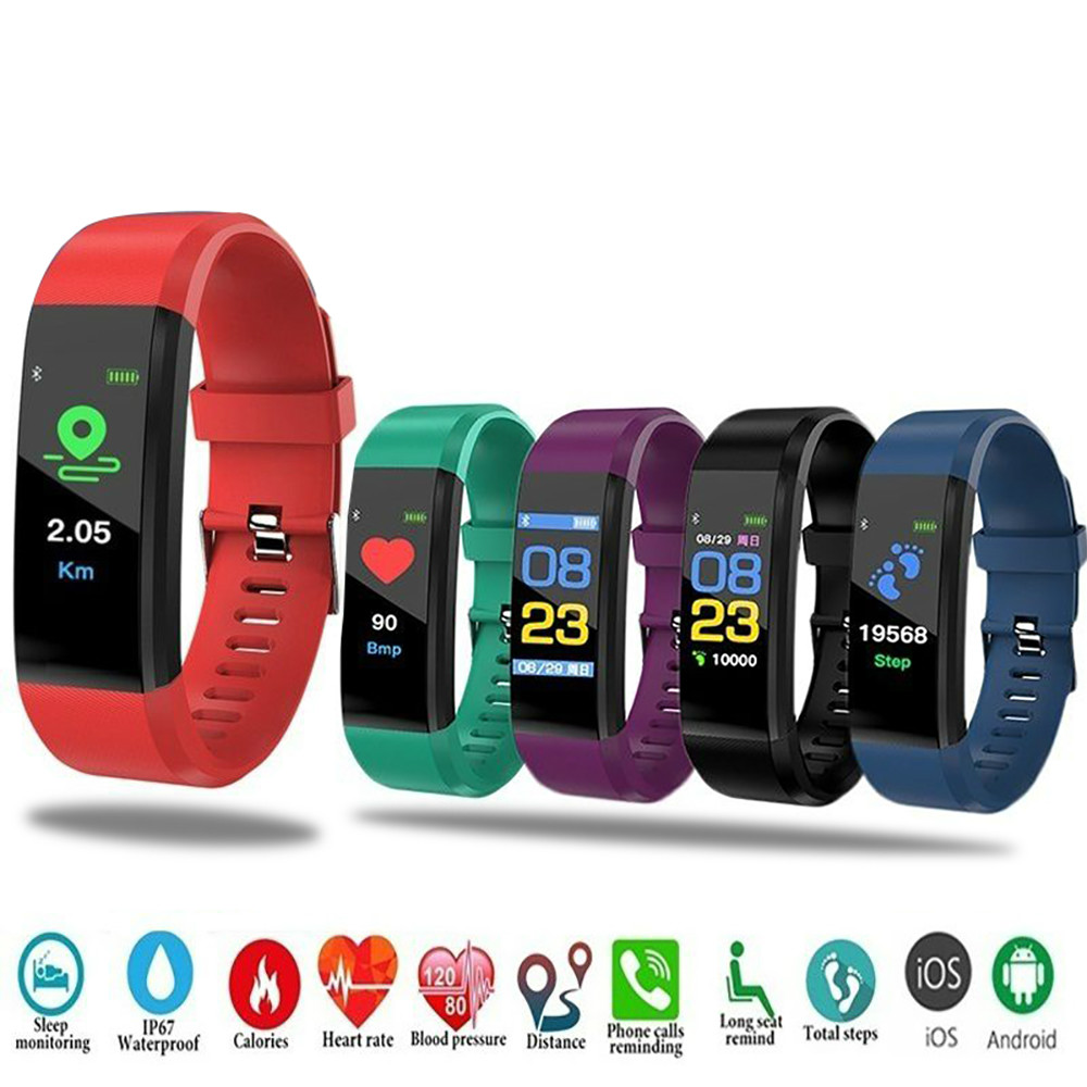 Smart Digital Watch For Men Women 115 Plus Smart Wristband Fitness Running Tracker Pressure Sport Watch Heart Rate Monitor Band
