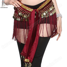 Women Belt Belly Dance Wrap Coins Tribal Clothes Gypsy Hip Scarf Tassel Costume Accessories Waist Chain Fringe Scarf 4 Colors