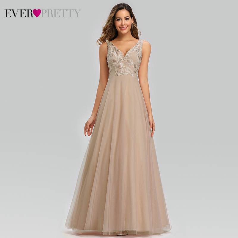 Ever Pretty Elegant Blush Prom Dresses A-Line Double V-Neck Appliques Beaded Tulle Formal Dresses For Party Vestidos De Gala