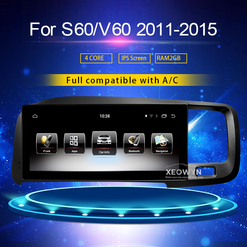 8.8 pouces RAM2G Android 7.0 PX6 autoradio stéréo pour Volvo S60 V60 xc60 2011-2015 GPS Support voyage informaiton full touch