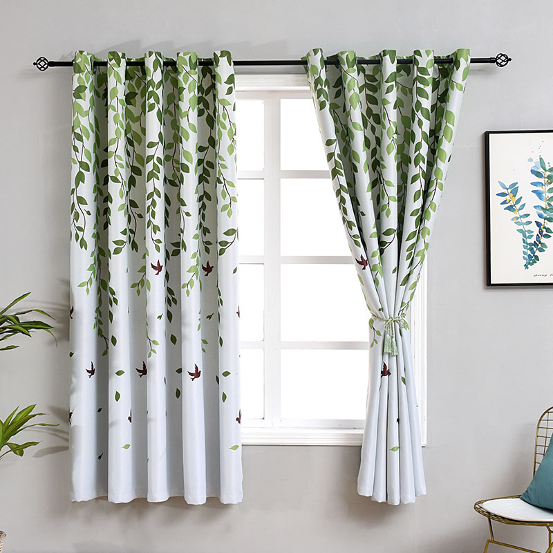 Printed Leaf Short Curtains For Kitchen Mondern Curtain For Living Room Bedroom Floral Cloth Drapes Door Window Treatment Decor