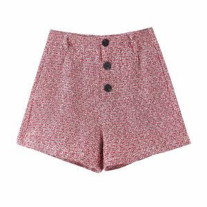 Image 4 - 2019 레트로 여성 믹스 컬러 소프트 모직 체크 무늬 자켓 벨트 하이 웨이스트 라인 미니 짧은 반바지 긴 소매 코트 2 개 세트