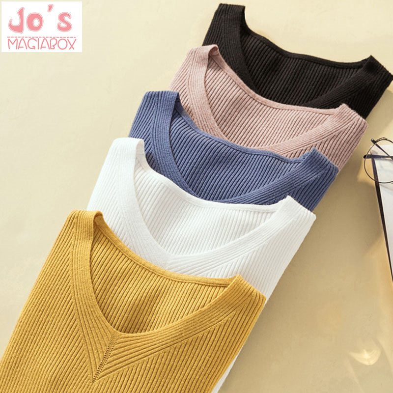 Winter Knitted Women Solid Sweaters And V-Neck Long Sleeve Pullovers Sweet Sueter Mujer Tops Casual Korean Jumper