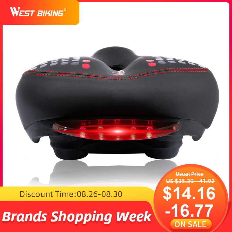 Bicycle-Saddle Tail-Light Bike West Biking Cycling Comfortable Widen Hollow with Thicken