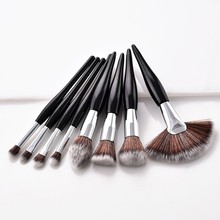 8Pcs Make up Brushes Set Soft Synthetic Head Wood Handle Black White Fan Flat Brush  Cosmetics pinceaux maquillage