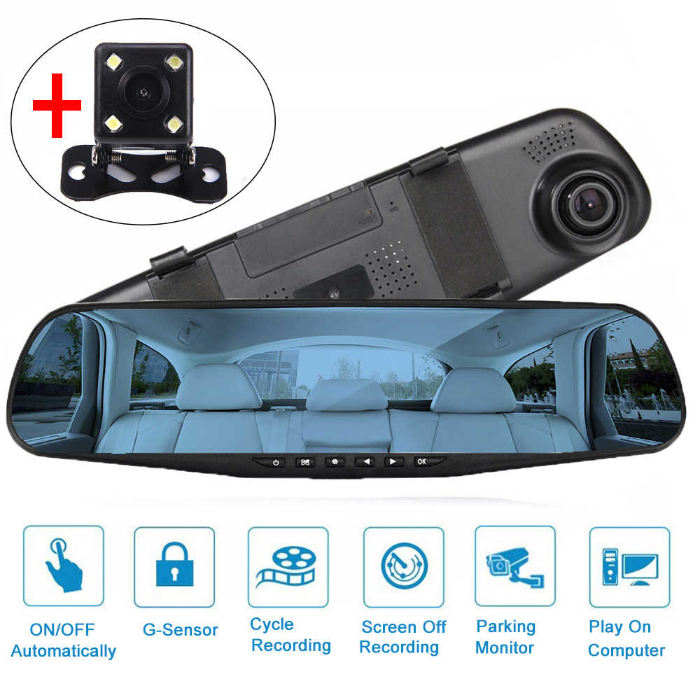 4.3'' Dual Lens with Rear View Camera Dash Cam Car Dvr Mirror FHD 1080P Night Vision Auto Video Recorder Registration Camcorder