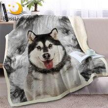 BlessLiving alaskan malamute rzuć narzuta na łóżko Sofa 3D zwierząt pies Sherpa koc z polaru Husky narzuty cienka kołdra 150x200cm