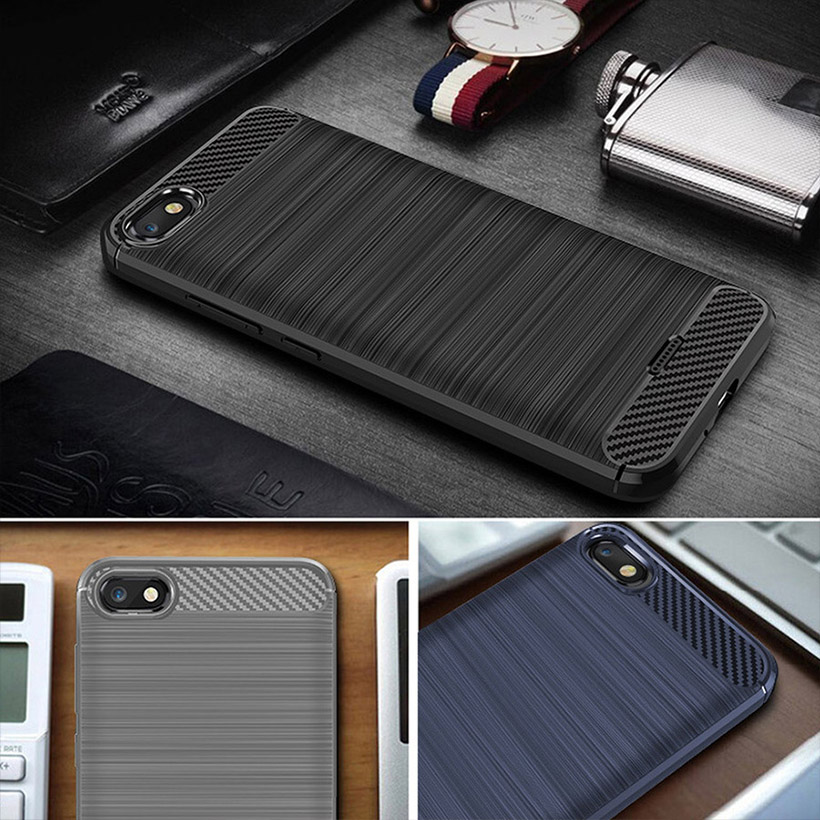 For Xiaomi Redmi 6A Case Carbon Fiber Cover Shockproof Phone Case For Redmi 6 A Redmi6A Cover 360 Full Protection Bumper Shell