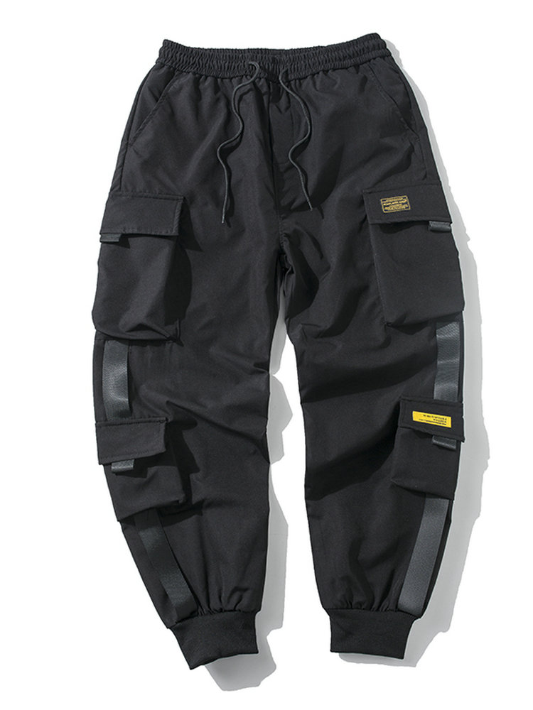 Casual Streetwear Pants Joggers-Trousers Ribbons Side-Pockets Cargo Hip-Hop Black Male