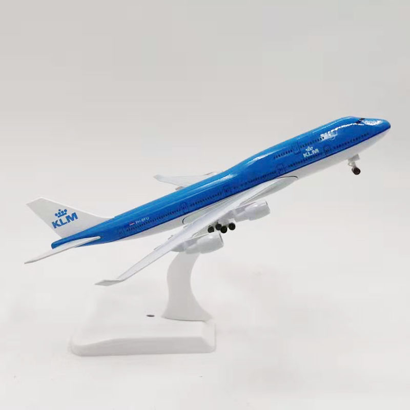 20CM Airbus Boeing B747 KLM Airlines Airplanes Plane Aircraft Alloy Model Toy With Landing Gear Toys F Collections