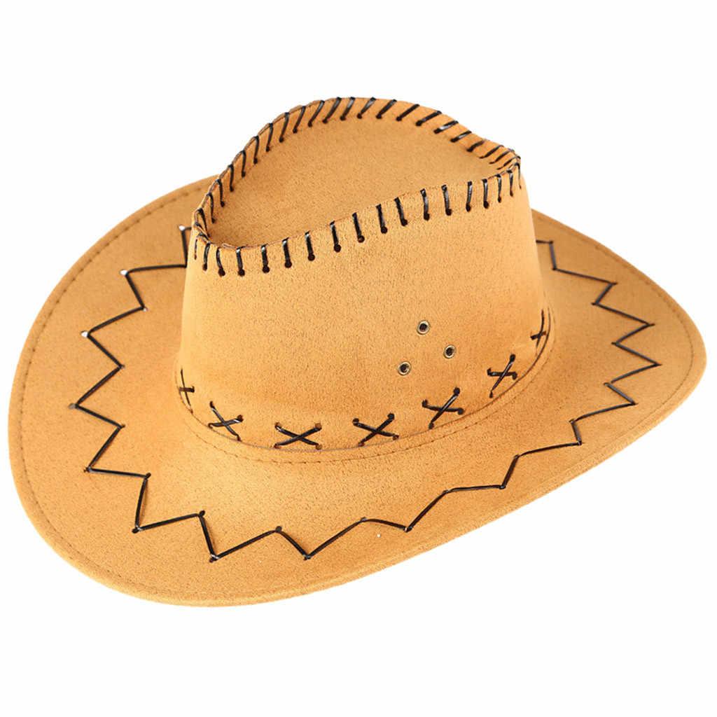 2019 新レディースメンズユニセックス狩猟帽子野生西ファンシーカウガールカウボーイ帽子カジュアルソリッドファッション西洋帽子キャップ S5