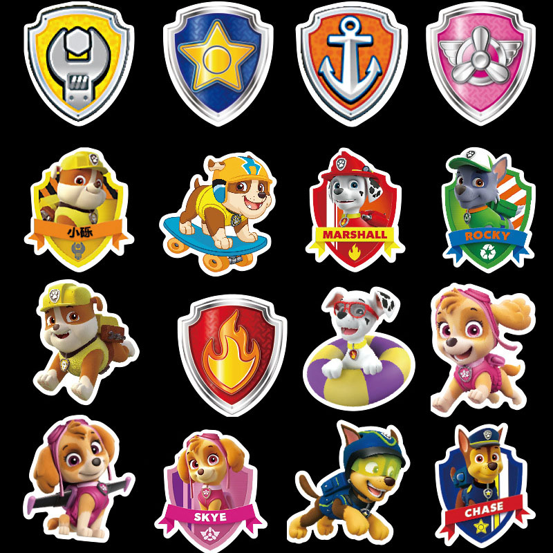 50pcs Dog PAW Patrol Stickers PVC Toys Graffiti Stickers Puppy Patrol Travel Case Luggage Car Stickers Waterproof   Toys Gifts