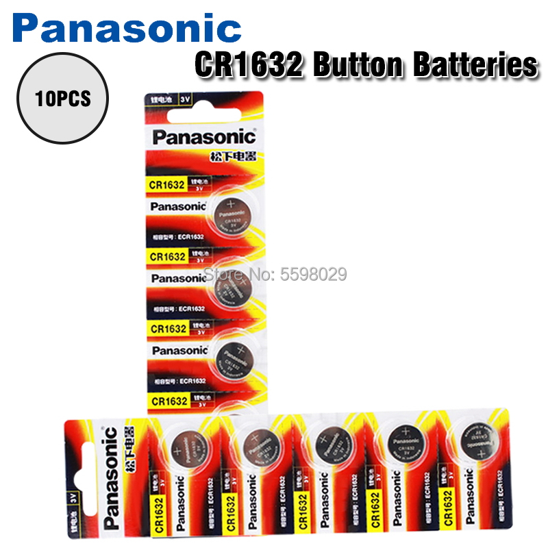 Кнопочная батарея PANASONIC CR1632 10 шт./лот, Оригинальная батарея 3 в, литиевые батареи CR 1632 для часов, игрушек, компьютера, калькулятора, управления