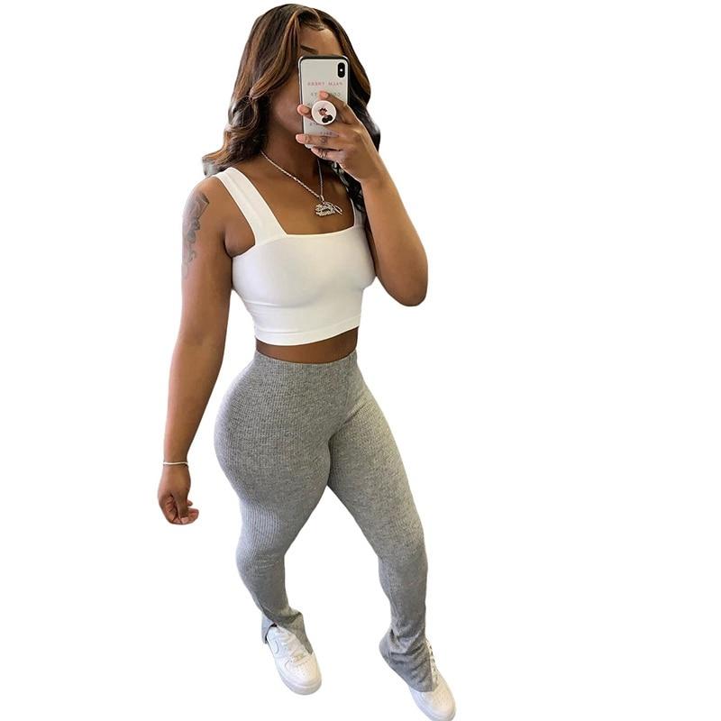 Stacked Leggings Pants with Split Joggers Women Sweatpants High Waist Grey Gym Sport Trousers Women Sweat Pants Capris Clothes