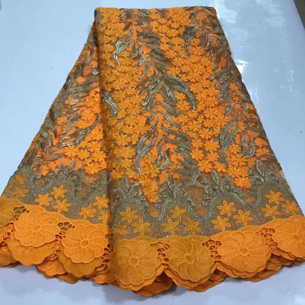 Orange Mesh French Tulle Lace, African Ankara Swiss Voile Lace Fabrics For Wedding Dress 2020 Latest Nigerian Lace Material