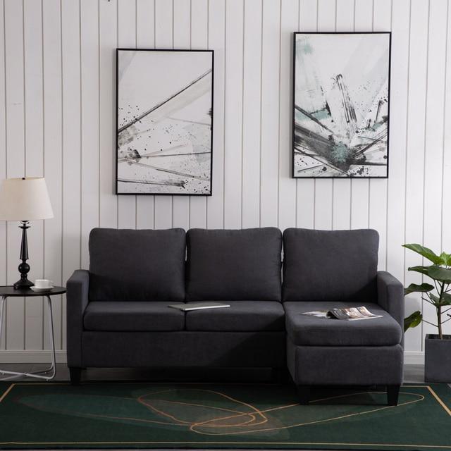 Double Chaise Longue Combination Sofa  Dark Grey Sectional Sofa 【196x68x80】cm 1