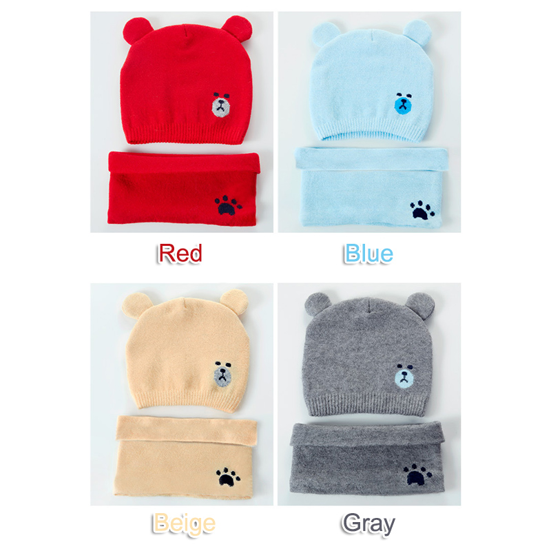 Baby Winter Caps Scarf Suits Warm Knitted Beanie Cap Cute Cartoon Bear Beanie S55