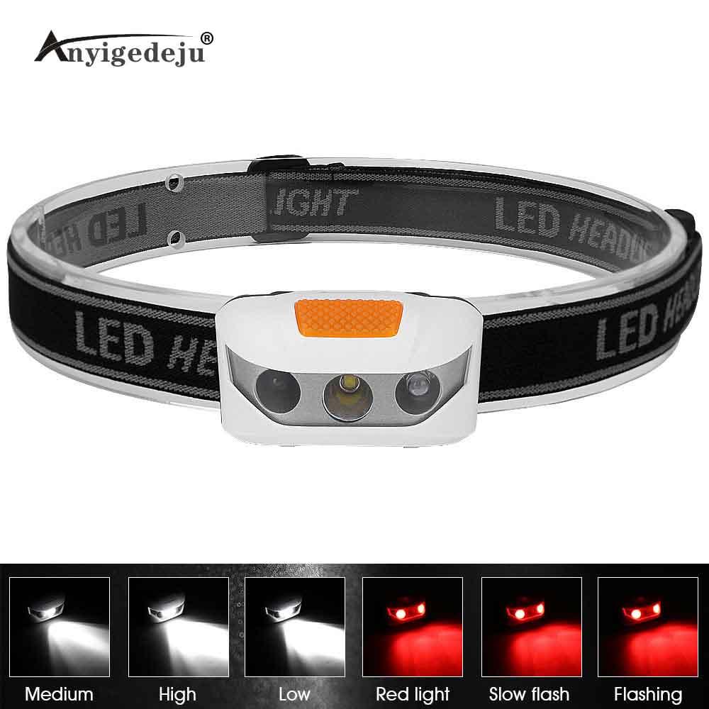 Mini Headlight AAA Battery Powered Red Light Flash White Headlamp XBD LED Head Light Torch Emergency Lantern For Night Fishing