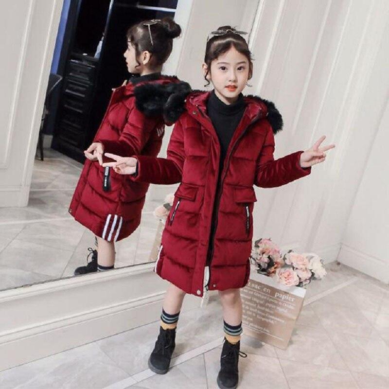 2019 vestes d'hiver nouvelles filles chaudes fourrure épaisse à capuche longs manteaux de velours pour les filles adolescentes enfants veste vêtements d'extérieur pour enfants vêtements
