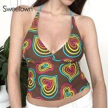 Sweetown-Tops cortos con cuello Halter para mujer, remera con estampado de corazón para bebé, camiseta de estética Y2K con espalda descubierta, camisetas sexys con cordones para mujer 2000s