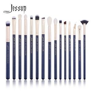 Image 1 - Jessup 15PCS Blu di Prussia/Golden Sands spazzole di Trucco set kit di Bellezza Eye Make up pennello OMBRETTO SPAZZOLA del LABBRO FRULLATORE