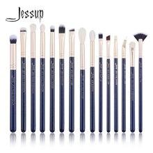 Jessup 15PCS Preußische Blau/Goldene Sand Make Up pinsel set Beauty kits Eye Make up pinsel LIDSCHATTEN LIP PINSEL MIXER