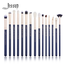 Jessup 15PCS Prussian Blue / Golden Sandsแปรงแต่งหน้าชุดความงามชุดEye Make upแปรงอายแชโดว์LIP BRUSHเครื่องปั่น