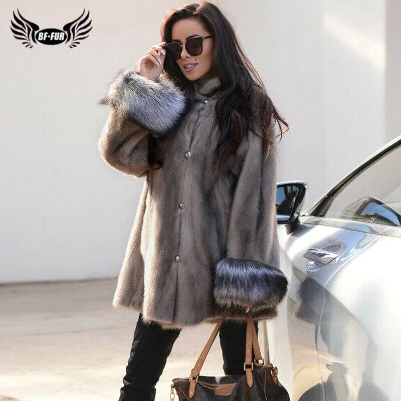 2019 mode femmes longue vison fourrure veste avec argent renard fourrure manchette de haute qualité naturel réel vison fourrure manteaux col montant pardessus