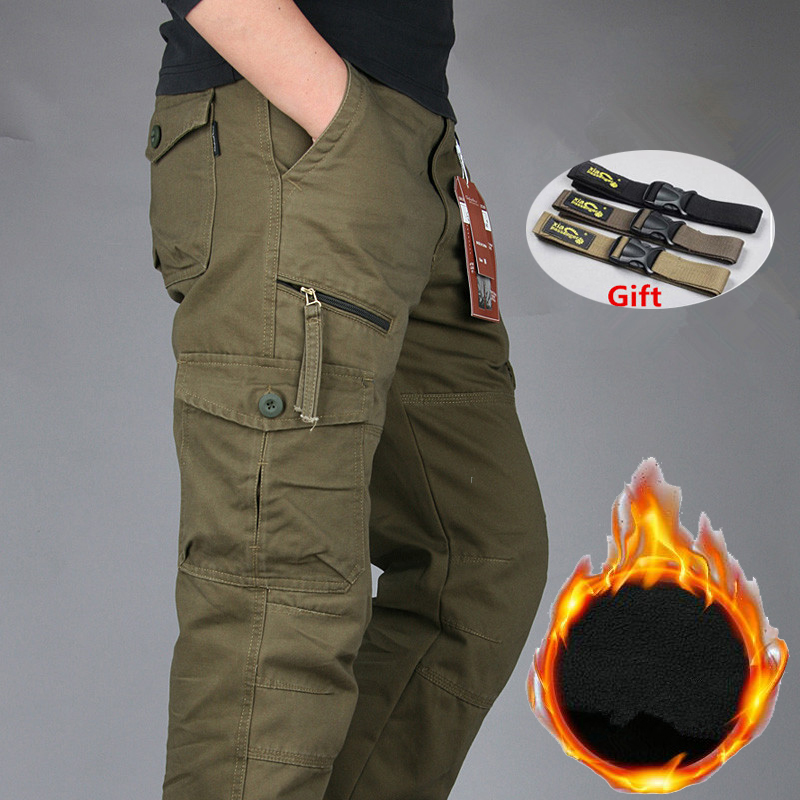 Men's Winter Cotton Fleece Warm Cargo Pant Men Joggers Pants Windbreaker Overalls Men Loose Baggy Joger Military Tactical Pants