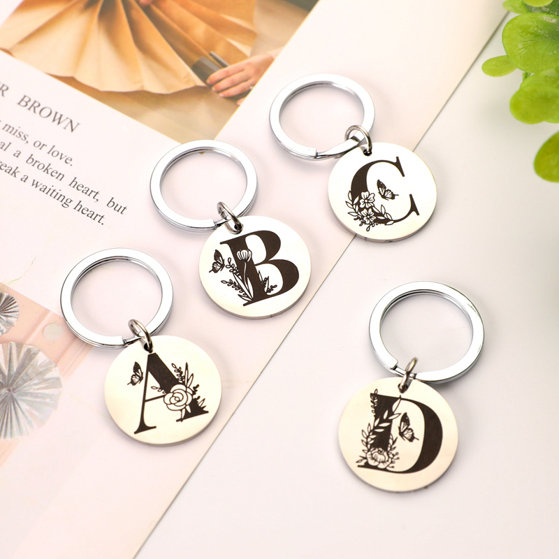 Oeinin Creative Keychain Man Letter Key Chain Bags Boy Initial A B C D Silver Color Key Ring Alloy Pendant Accessories Brelok