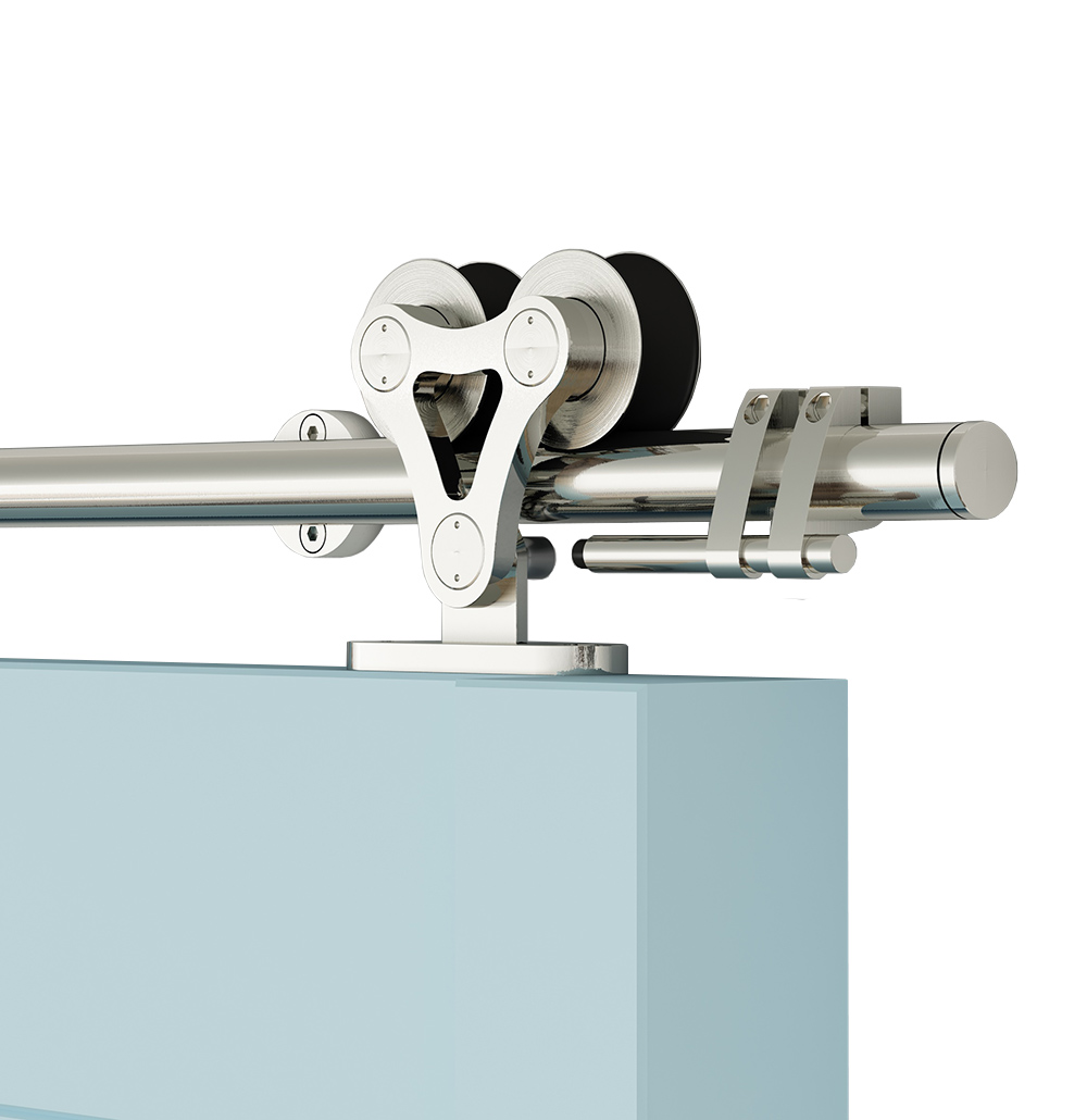 DIYHD 5FT-8FT Top Mount Stainless Steel Double Head Twin Roller Sliding Barn Door Hardware