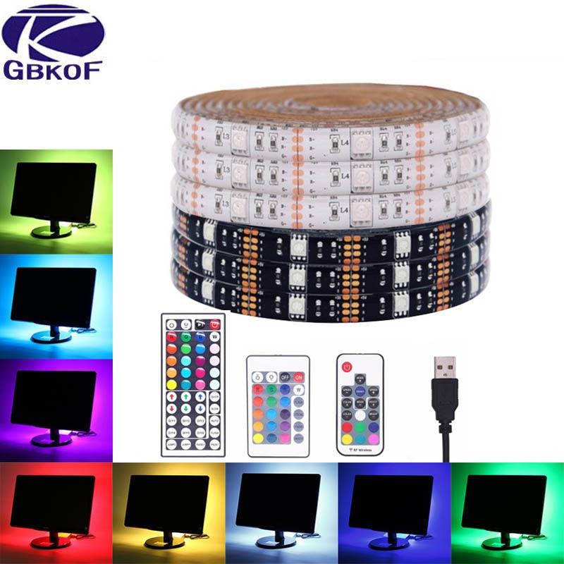 USB LED Strip 5050 RGB Flexible LED Light DC5V RGB Color Changeable TV Background Lighting. thumbnail